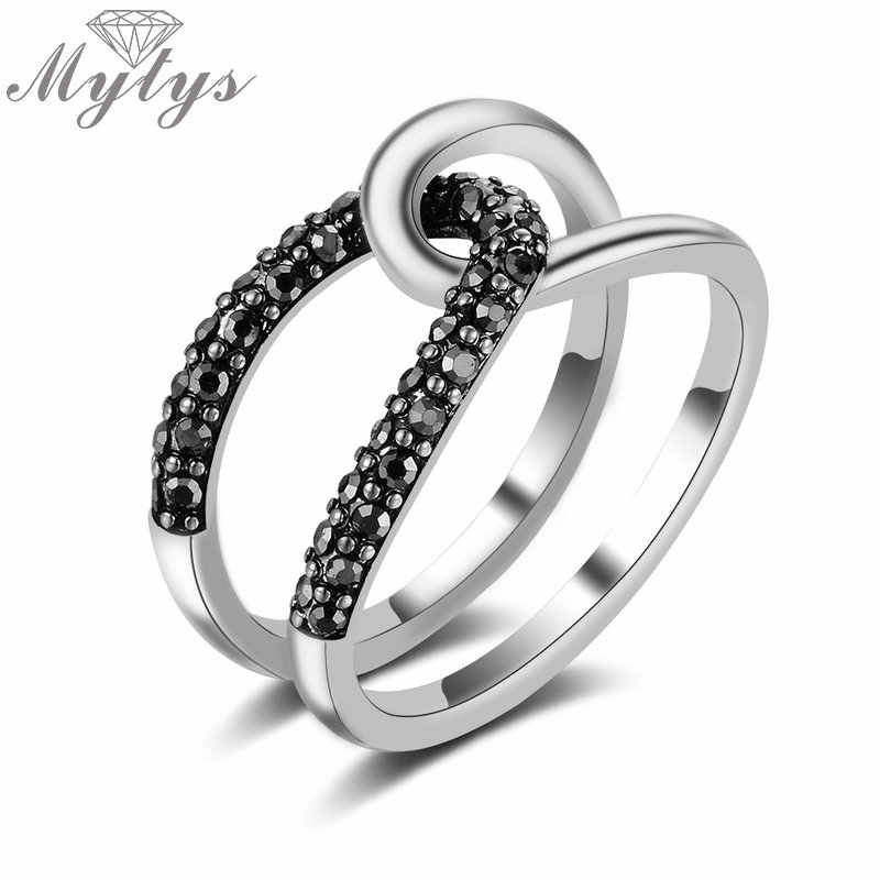 Mytys Double Layers Hollow intersect Ring for Women Simply Fashion Stacking Ring Accessories Fashion Retro Antique Ring R2132