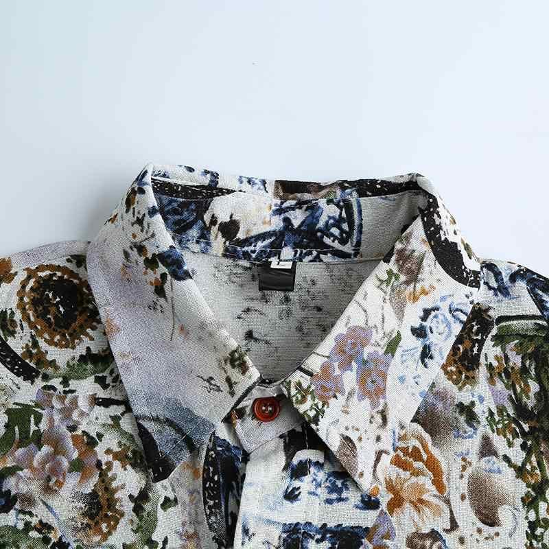 リネンカジュアルシャツ紳士服カミーサソーシャル花ブラウス男性ブラウス夏花柄ファッション半袖新