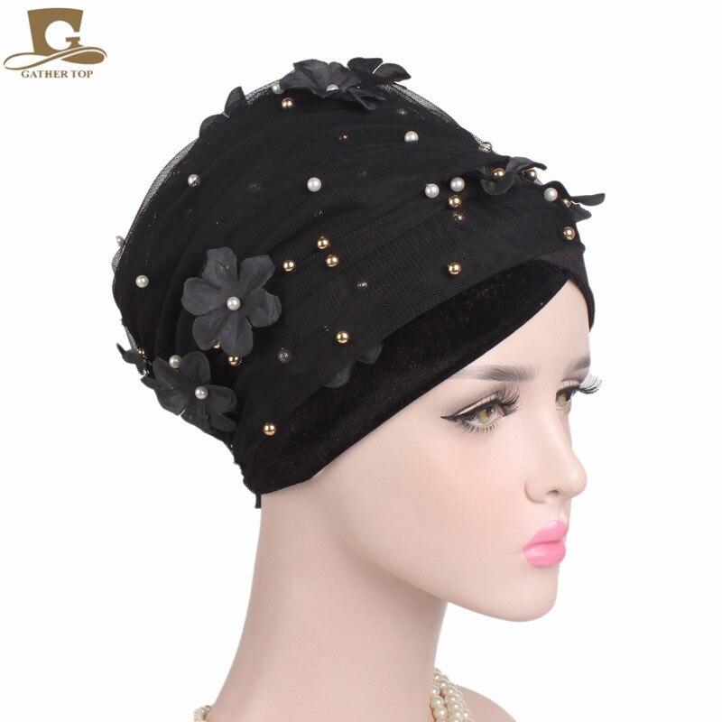 0c3bb6813b2 New Fashion Women 3D Flower Beaded mesh Velvet Turban Head Wrap Nigerian  Turban Stylish Head scarf