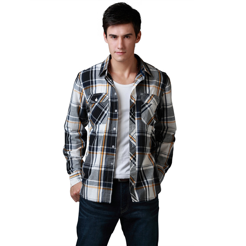 Wow Men Shirt Brand Long Sleeve Casual Shirt 100 Cotton Plaid Two Front Pocket US Europen