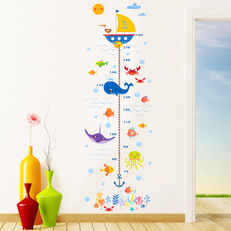 diy seabed fish shark bubble height measure wall stickers for kids room bathroom home decor growth chart cartoon wall decals art