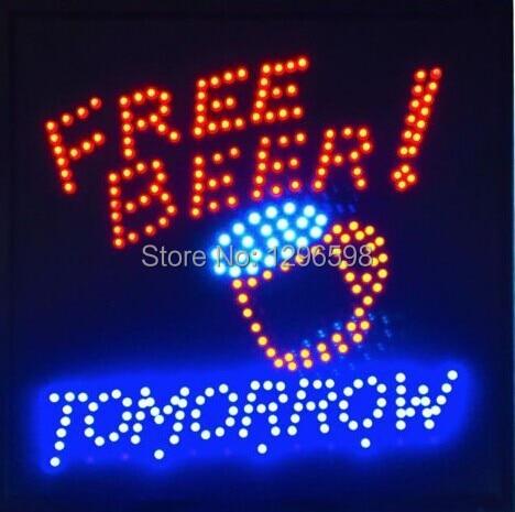 Vente directe personnalisée 19X19 pouces intérieur graphiques Ultra lumineux demain gratuit bière bar boisson pub led néon signe