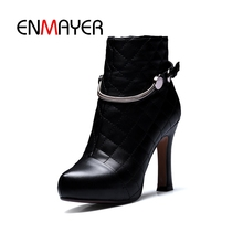 ENMAYER Women Ankle Boots for Women High Heel Pointed Toe Autumn Winter Shoes Woman Size 32-43 Square Heel Patent Leather CR1390 цена 2017
