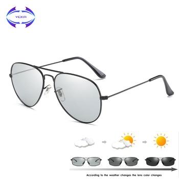 VCKA Photochromic Sunglasses Men Driving Polarized Sun Glasses Chameleon pilot Night Vision Goggles Glasses uv400 Eyewear