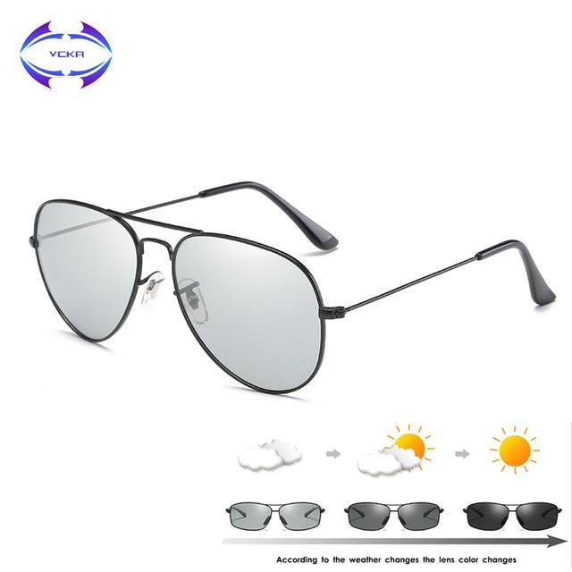 VCKA Photochromic משקפי שמש גברים נהיגה מקוטב משקפיים שמש זיקית טייס ראיית לילה משקפי משקפיים uv400 Eyewear