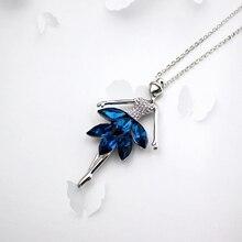 Новая Мода Модный Популярные Прекрасный Рисунок Танцующая Балерина Девушка, Набор с Deep Blue Crystal Юбка ожерелье, пункт: LN0365