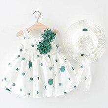 Baby Girl Dress 2019 New Summer Childrens Clothing Girls Bow Polka Dot Straw Hat Princess