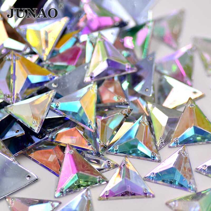 JUNAO 200pc 17mm Sewing Crystal AB Rhinestone Fancy Acrylic Strass  Appliques Flatback Clear Crystals Stones for 7e432584bc6b