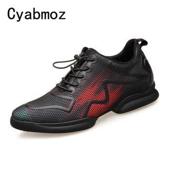 Mens Sneakers Spring Summer Increased 6CM Man Casual Breathable Mesh Shoes Student Men Shoes Tenis Masculino Male Elevator Shoes
