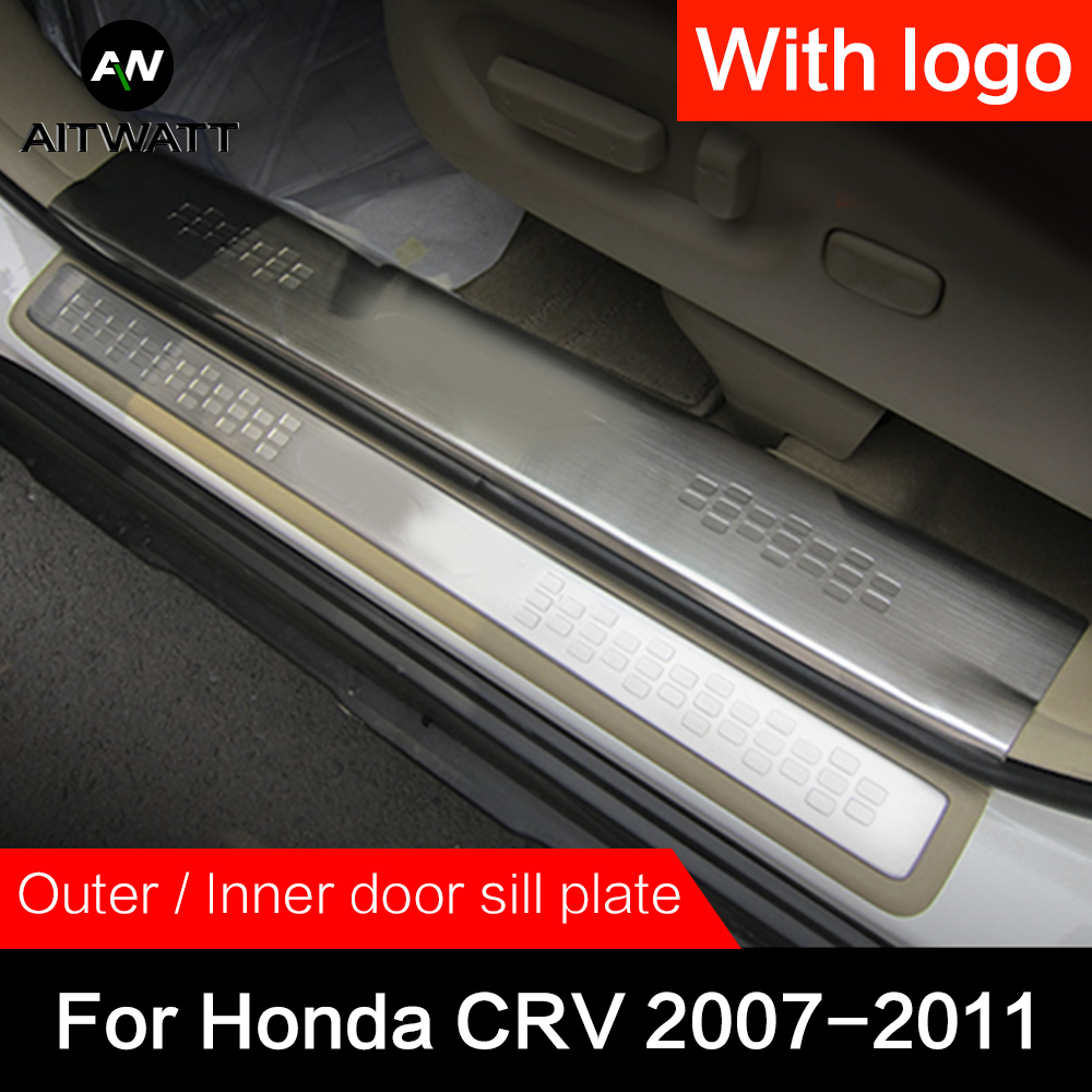 For Honda CRV 2007 2008 2009 2010 2011 Stainless Steel Door Sill Scuff Plate Cover Car Styling Accessories Guard Protector 4pcsFor Honda CRV 2007 2008 2009 2010 2011 Stainless Steel Door Sill Scuff Plate Cover Car Styling Accessories Guard Protector 4pcs