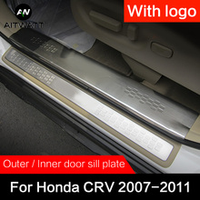 For Honda CRV 2007 2008 2009 2010 2011 Stainless Steel Door Sill Scuff Plate Cover Car Styling Accessories Guard Protector 4pcs цена
