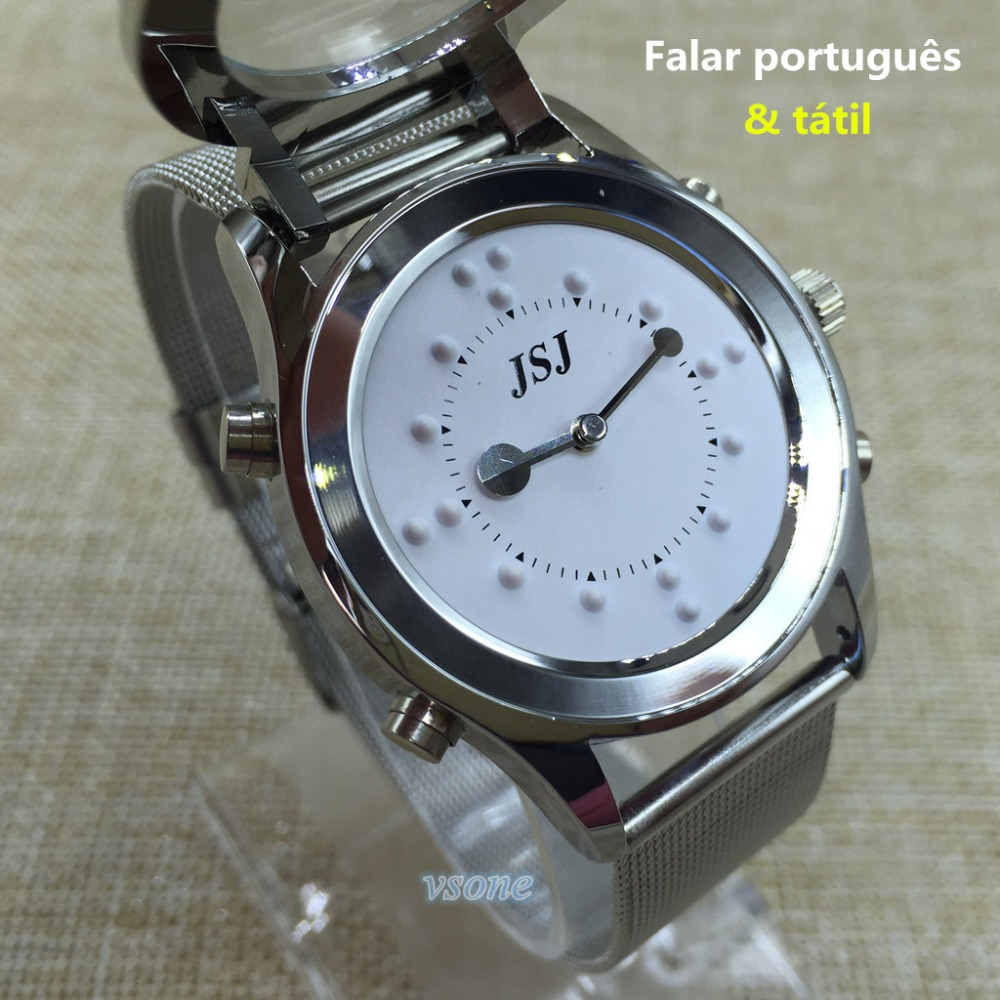 Portuguese Talking and Tactile Function 2 in 1 Watch for Blind People or Visually Impaired or Old People tactile sensation imaging for tumor detection