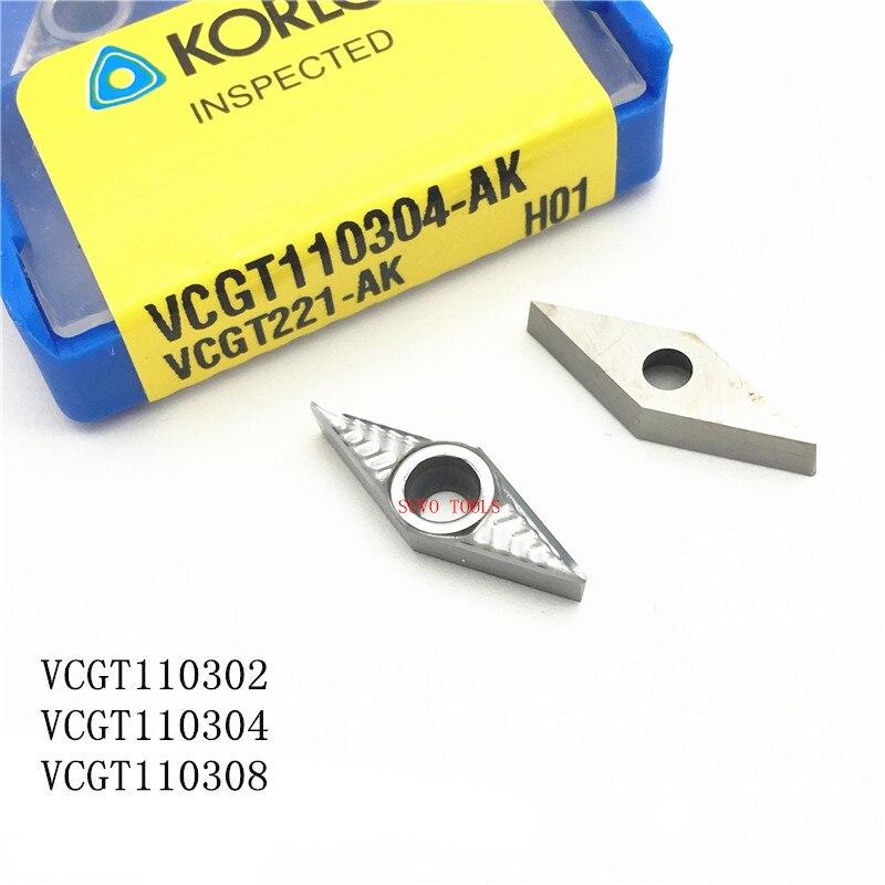 Korloy 10pcs VCGT110304-AK H01 VCGT221-AK H01 CNC Carbide Inserts