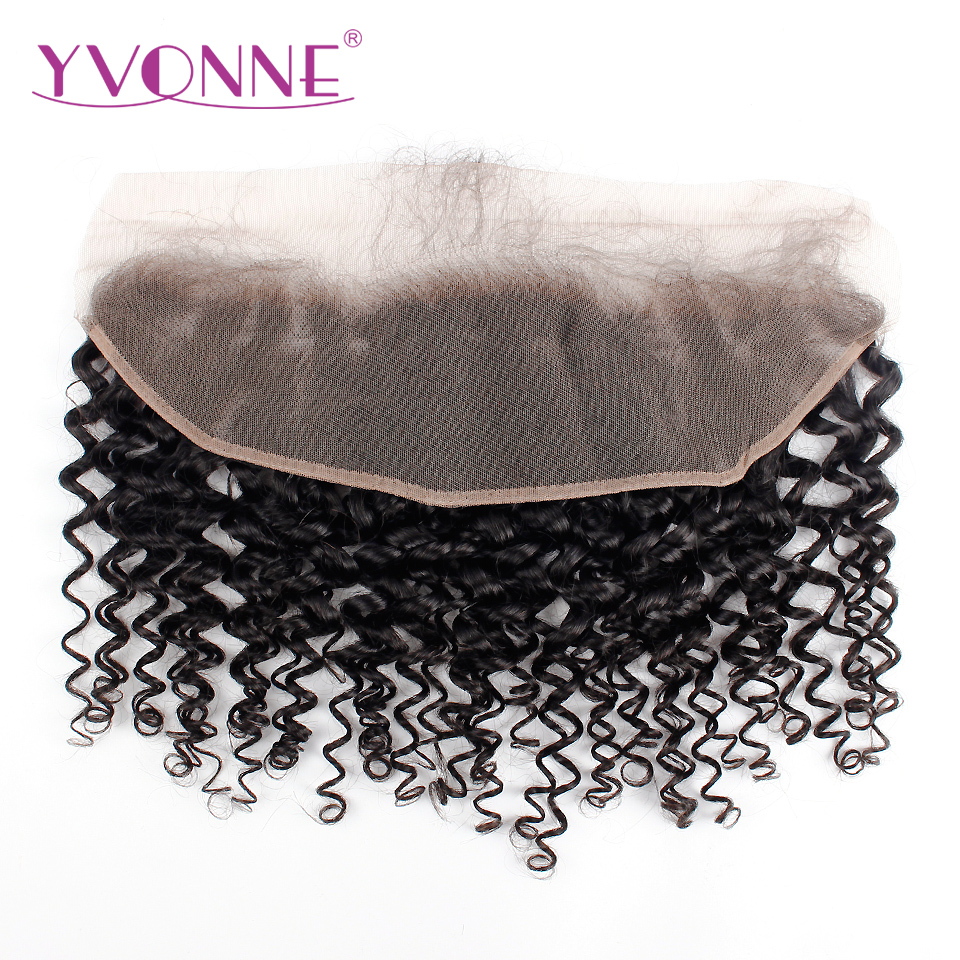 YVONNE Malaysian Curly Virgin Hair Lace Frontal 13x4 Natural Color 100% Human Hair Products