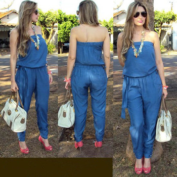Casual  Off Shoulder Jumpsuit Romper Plus Size Backless Denim Bodysuit Woman One Piece Pants Sleeveless Blue Women Overalls plus size women in overalls