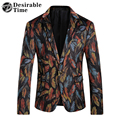 Mens Colorful Velvet Blazers And Suit Jackets 2017 New Arrival Wedding Dress Men Slim Fit Floral Blazer Designs DT081
