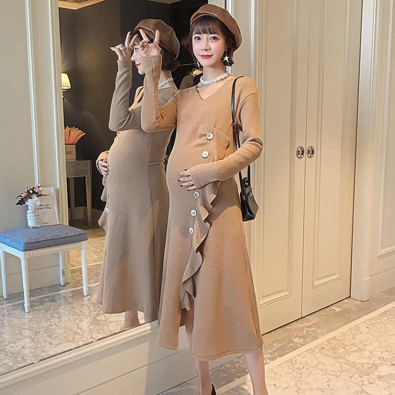 e37f9e7271310 Sexy Maternity Dress For Pregnant Women's Clothes Ruffled Irregular  Bottoming Dresses Spring Tops Pregnancy Clothing Vestidos