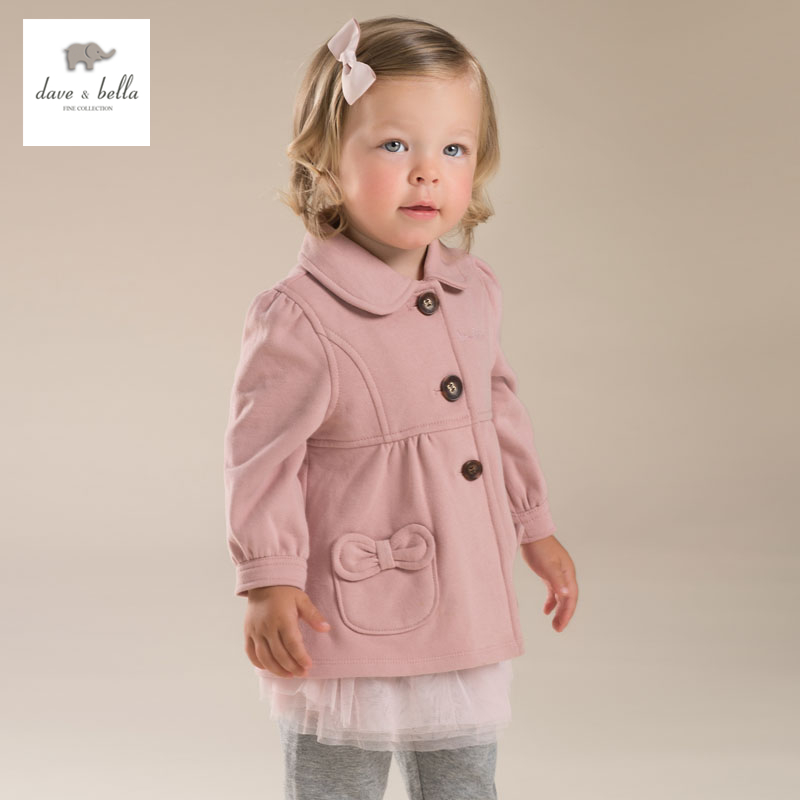 DB4026 davebella autumn new baby girls coat infant clothes toddle coat girls pink outerwear children coat coat gaudi coat