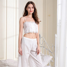 Sexy Woman Pajamas Set Sleepwear White Spaghetti Strap Sleeveless Lace Tube-top Cami Loose Pants Pajama Set For Women fringe cami tube top