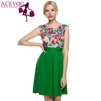 ACEVOG Women Vintage Style A Line Sleeveless Embroidery Casual Cocktail Party Dress Women Printing Dress Plus