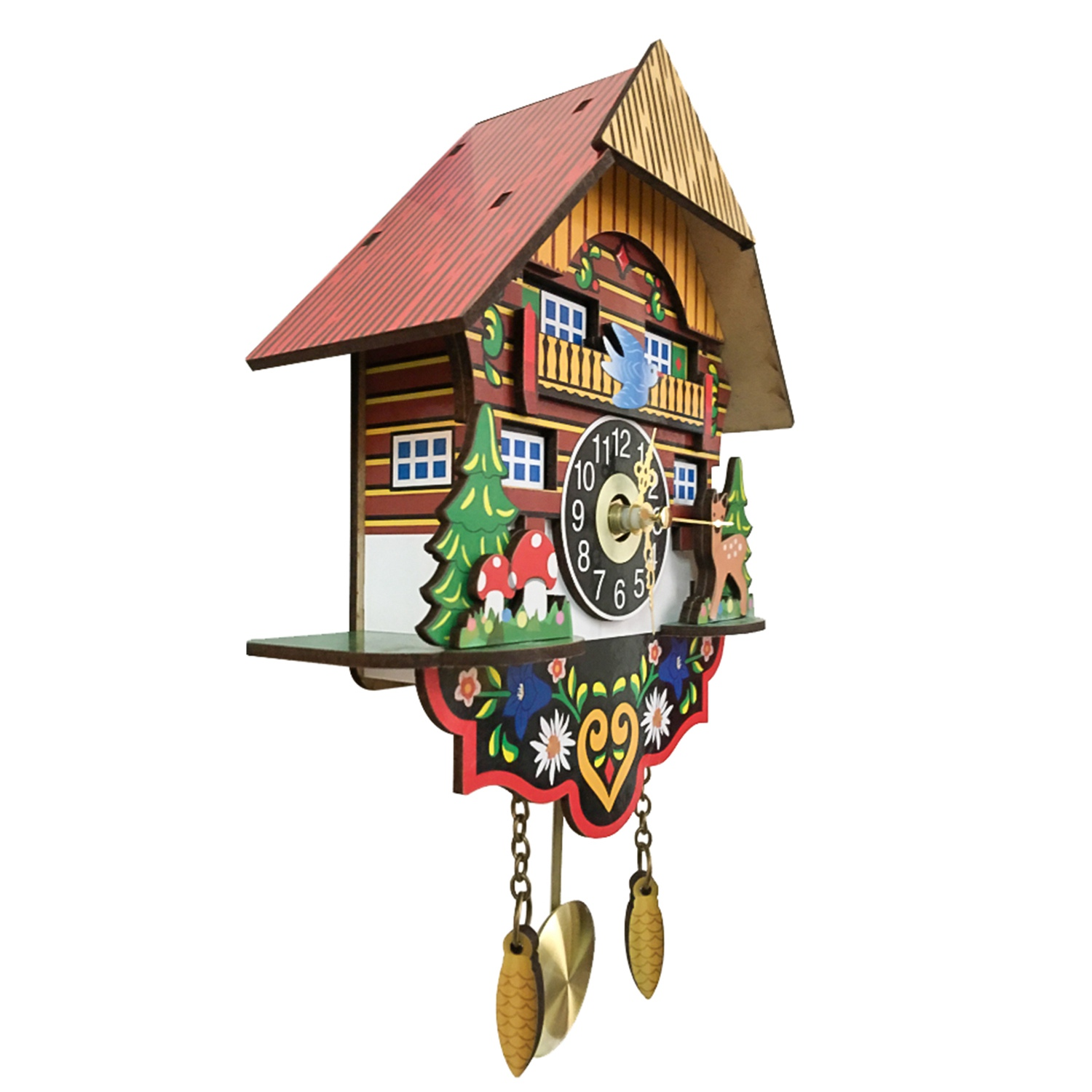 Image 5 - Hot Silent Cuckoo Wall Clock, Yellow European Style Living Room Vintage Wall Clock precise-in Wall Clocks from Home & Garden