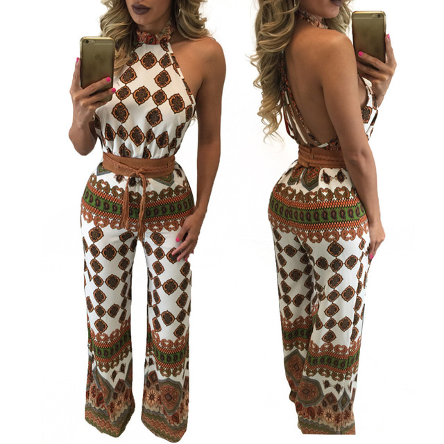 Hot Sexy Bodycon Jumpsuit Clothing Women Loose Backless Halter Tank Sleeveless Summer Boot Cut Style Printed Fashion Jumpsuit