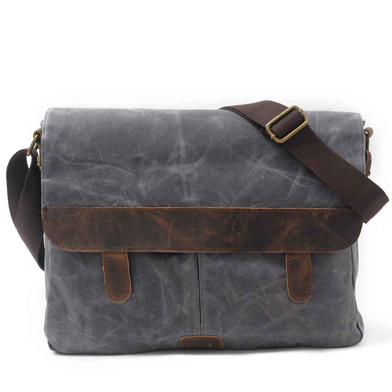 Men's leisure bag bag wax canvas with Crazy Horse Luxury Cowboy Oil Skin Leather Bags  Satchel Bag retro and waterproof ибп eaton 5130 1250va rt 2u