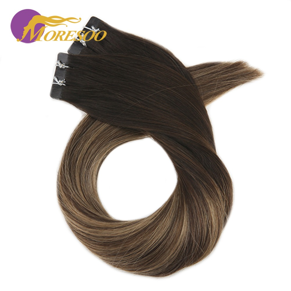 Moresoo 14-24 Inch Black Root Color Tape In Human Hair Extensions Skin Weft Remy Brazilian Hair Extensions 2.5g/pcs 25g-100g