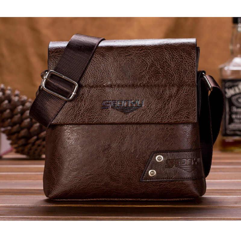 74ebea64e4ac Повседневные мужские сумки через плечо из искусственной кожи деловой  портфель сумка-мессенджер дизайнерская мужская сумка