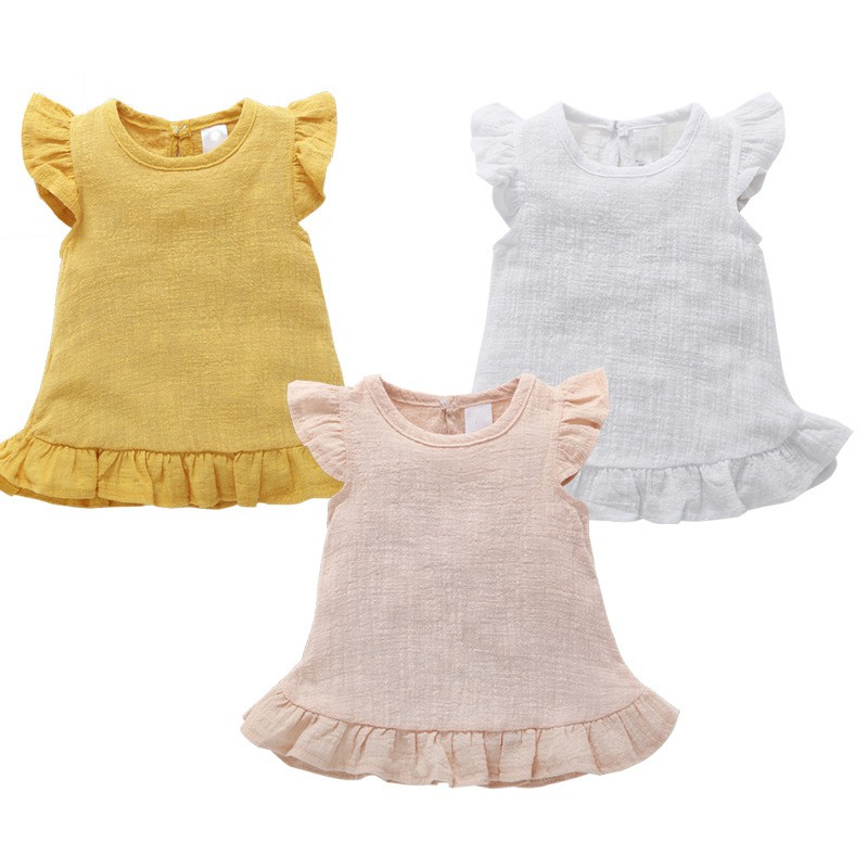WEIXINBUY Baby Girl Dress Baby Clothes Shirt Top Linen Cotton Casual Baby Girl Sleeveless Princess Dress