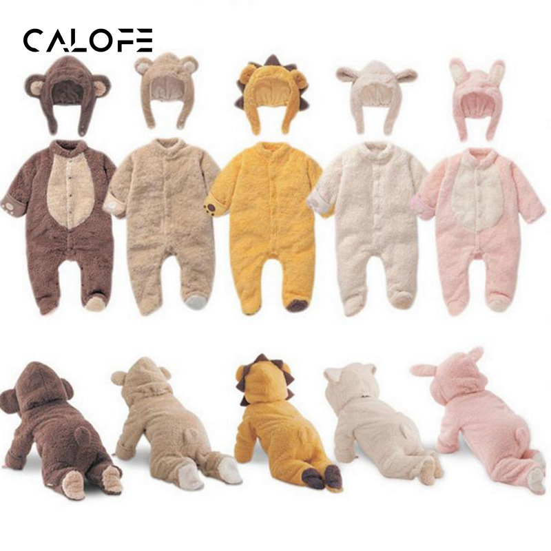 CALOFE Warm Snowsuit Jumpsuit Baby Girl Clothes Animal Baby Rompers Costume Newborn Clothes pajamas Winter Fleece Clothes Boys mother nest 3sets lot wholesale autumn toddle girl long sleeve baby clothing one piece boys baby pajamas infant clothes rompers