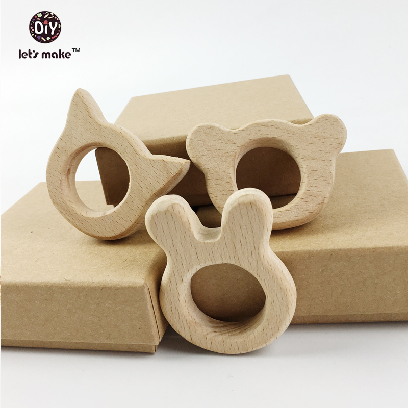 Let's make wooden teether Beech Wood baby teething toy nature eco-friendly Hand Cut animal holder Rattle DIY Accessories 6PCS