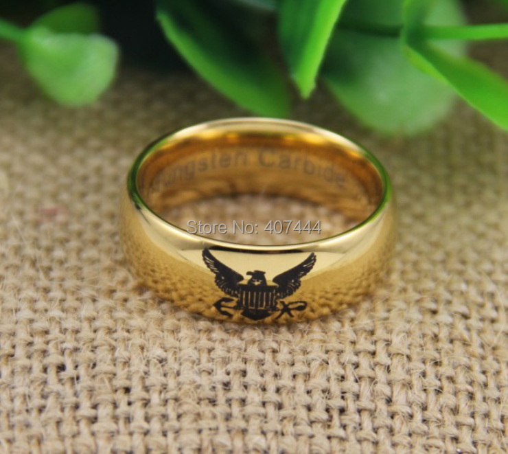 ygk tungsten ring ygk jewelry hot sales 8mm high polish gold color dome us army military - Military Wedding Rings