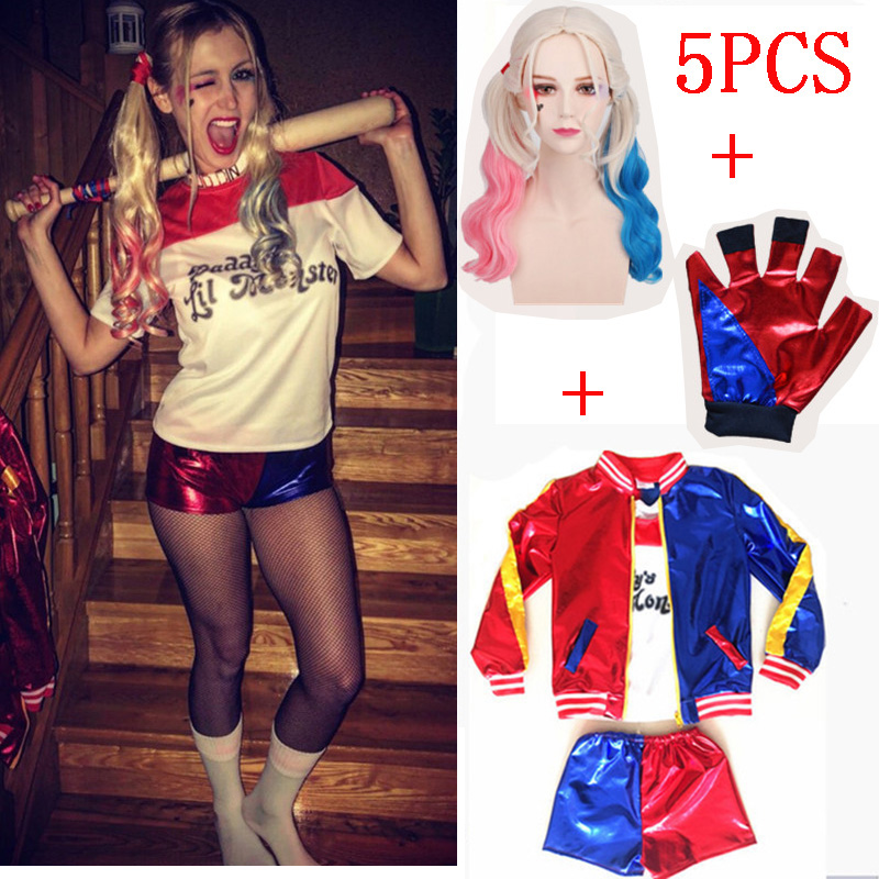 Hot Girls Kids Harley Quinn Costume Cosplay Movie Batman Suicide Squad Team Halloween Purim Jacket Sets Christmas Girl Kids Gift