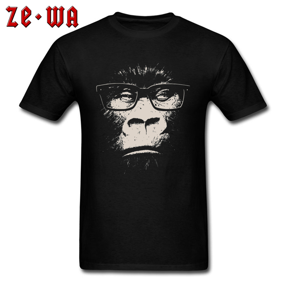 Bookish Gorilla With Glasses Black T Shirt 100% Cotton Tees for Men Street Shirts Fashionable Rife Crew Neck Fathers Day