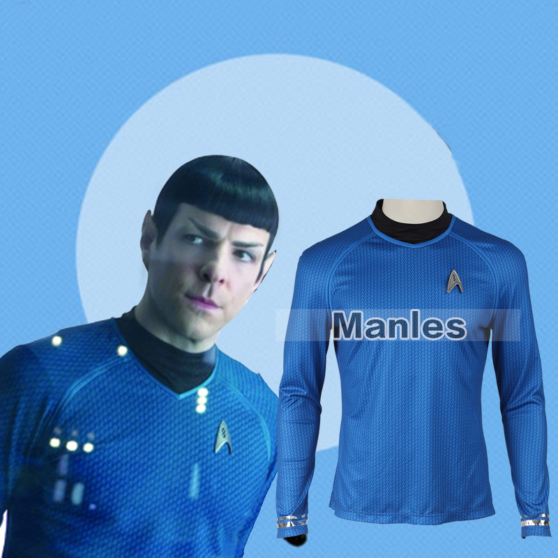 Star Trek Into Darkness Spock Cosplay Costume Spock Uniform Blue Star Trek Fleet Blue Shirt  Adult Men Halloween