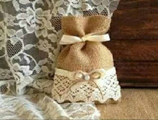 9 5x14 5cm Burlap Favor Bags Rustic Wedding Bag 3x5inch Lace