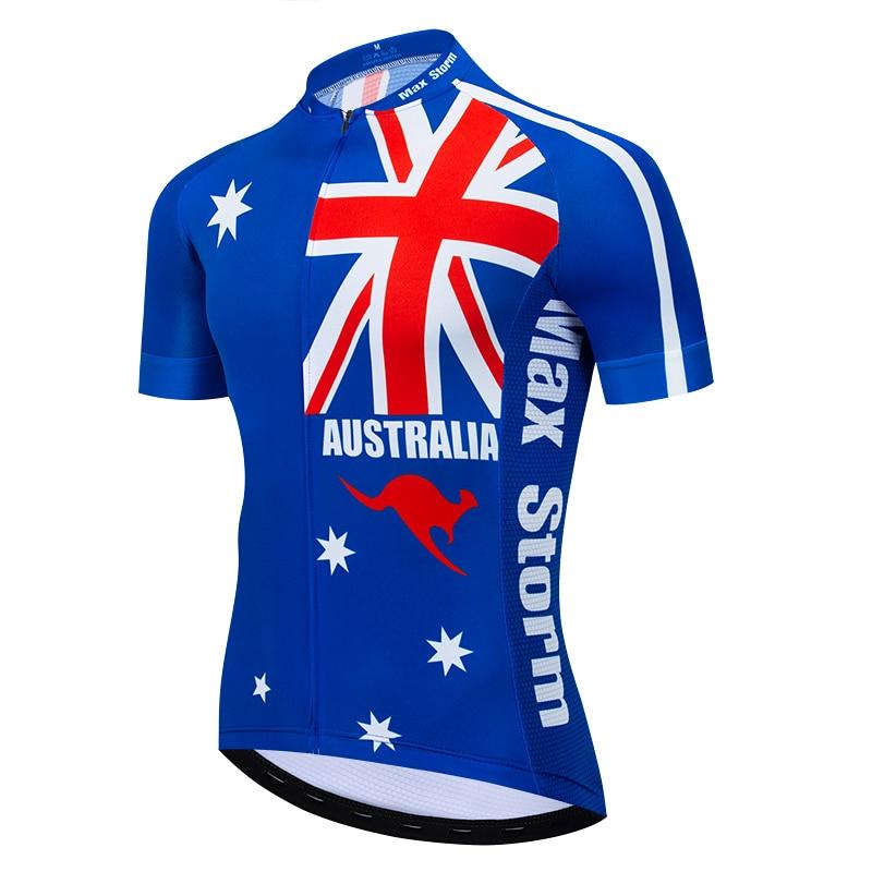 2019 New Team Australia  Cycling Jersey Customized Road Mountain Race Top max storm Reflective zipper 4 pocket