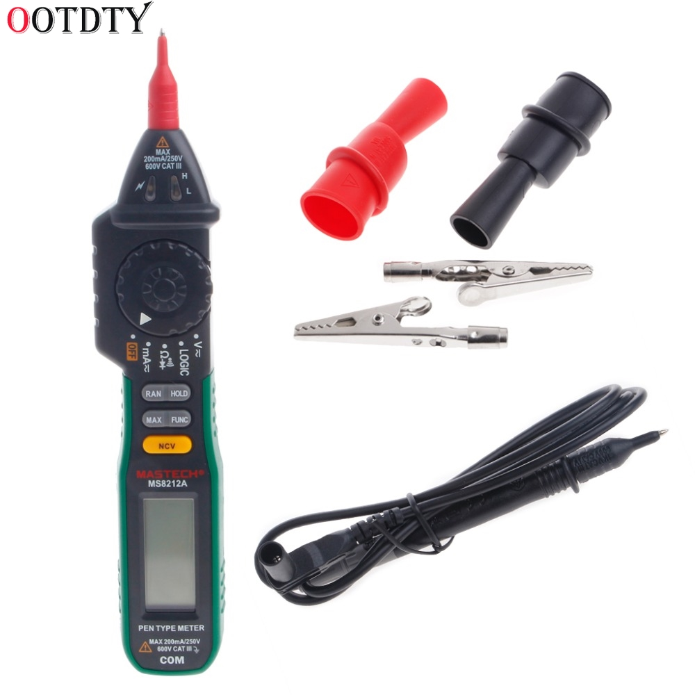MS8212A Pen Digital Multimeter Voltage Current Tester Diode Logic Non-contact Test Tools mastech ms8212a multi function pen type digital multimeter auto range logic level continuity diode test non contact tester