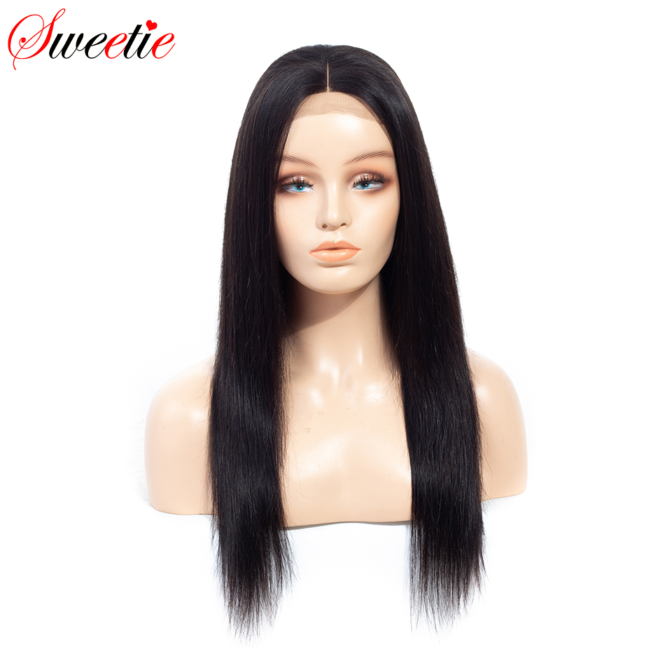 Sweetie 4x4 Lace Front Human Hair Wigs Brazilian Straight Remy Hair Natural Color Pre Plucked Human
