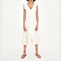 JXYSY vestidos summer dress button sashes bow bockets ruffles pleated white dress women vestido summer 2 pieces set tops