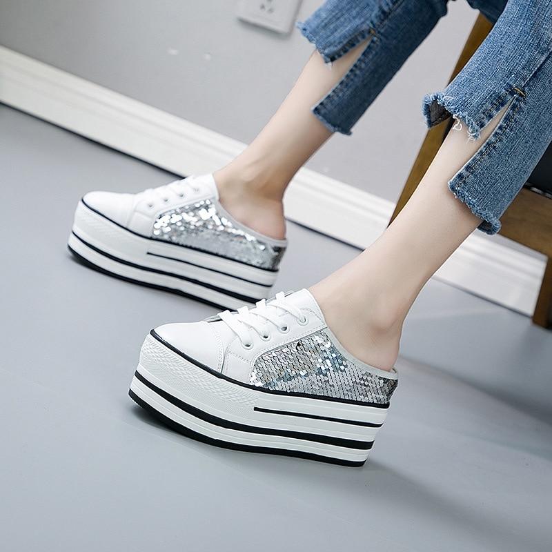 Augmenté Dame Femmes Slip D'été Marque Chaussures Coins À Gliter Mode on Jorrkrrix Blanc Compensées Formateur 2019 Semelles iPZwTXuOk