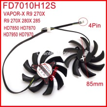 Free Shipping 2pcs/lot Firstd FD7010H12S 85mm For Sapphire R9 280X VAPOR-X R9 270X HD7950 HD7970 Graphics Card Cooling Fan 4Pin