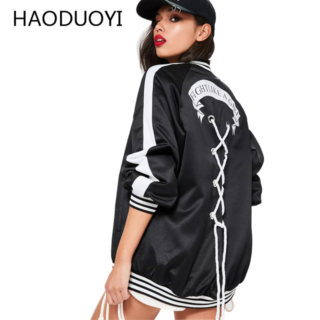 Online Shop HAODUOYI Fashion Black White Patchwork Women Baseball ...