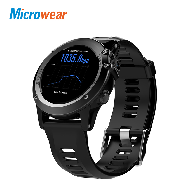 Microwear H1 Montre Smart Watch Android 4.4 Étanche 1.39 MTK6572 BT 4.0 3g Wifi GPS SIM Pour iPhone Smartwatch hommes Dispositifs Portables