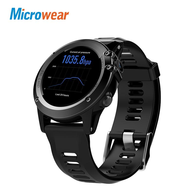 Microwear H1 android 4.4 Smart orologio da polso impermeabile SmartWatch per android iPhone supporto da 1.39 pollici mtk6572 3G wifi GPS SIM GSM WCDMA