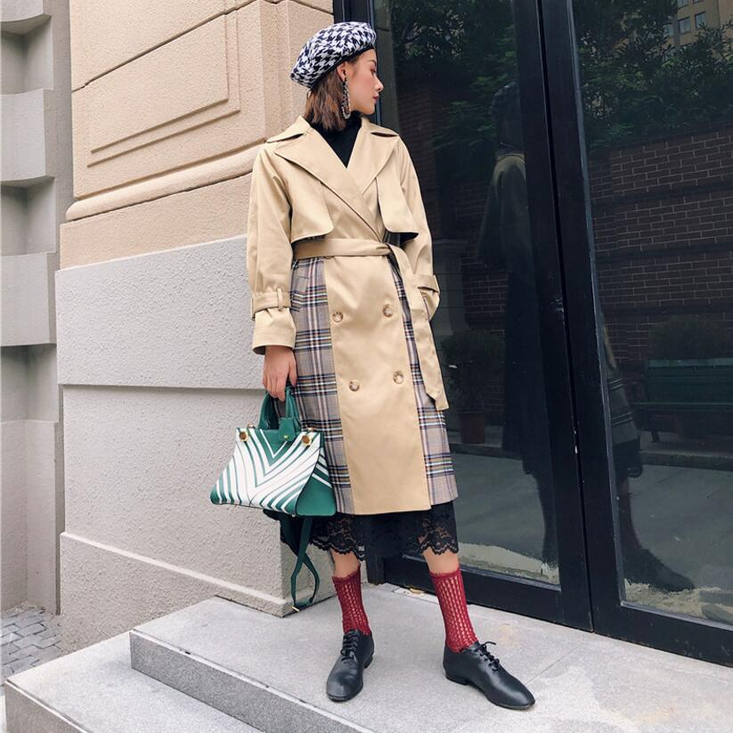 Autumn Winter Trench for Women Long Coat Plaid Contrast Color Back Green Pleated Overcoat