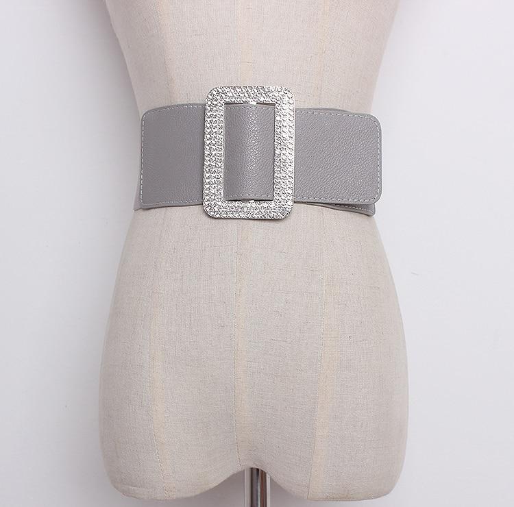 Women's Runway Fashion Elastic Pu Leather Cummerbunds Female Dress Corsets Waistband Belts Bow Decoration Wide Belt R1301