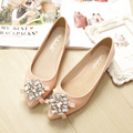 Free shipping new Korean version of the diamond soft bottom flat shoes with flat black shoes large size shoes