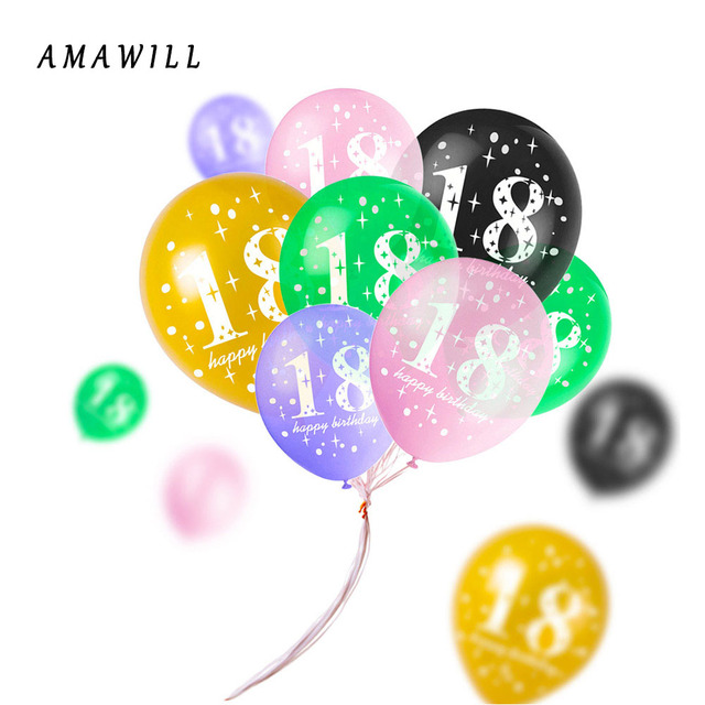 AMAWILL 10pcs Latex Pearl Digital Balloon 12 Inch 18th Birthday Party Adult Scene Arrangement Supplies Background